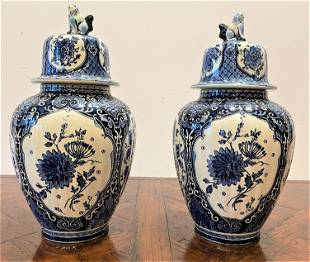 Pair Blue and White Delft Ginger Jars Holland Boch