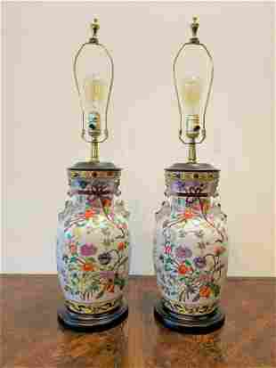 Pair Oriental Floral Porcelain Lamps