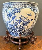 Oversized Blue & White Chinese Porcelain Fish Bowl