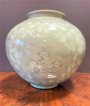 Large Korean Celadon Jar Vase
