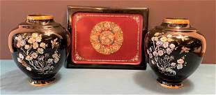 Inlay Black Oriental Vases