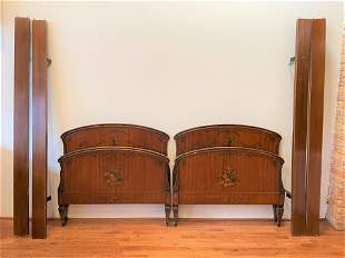 Pair Art Deco Hand Painted Chinoiserie Beds