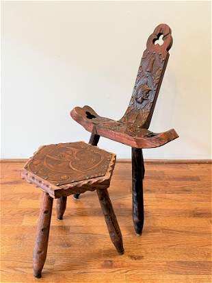 Mid Century Tooled Leather Chair and Stool