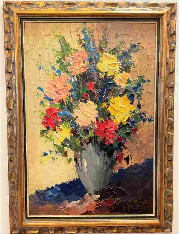 Large Oil on Canvas Flowers Still Life C. Bevort