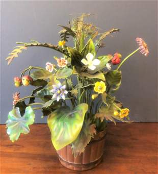 Tole Flowers and Vase