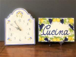 Italian Porcelain Clock and Cucina Sign
