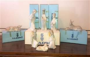 Lladro 8 pc Nativity
