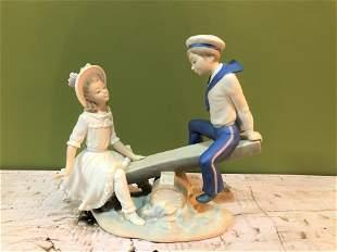 Lladro Seesaw Sailor Boy & Girl Retired