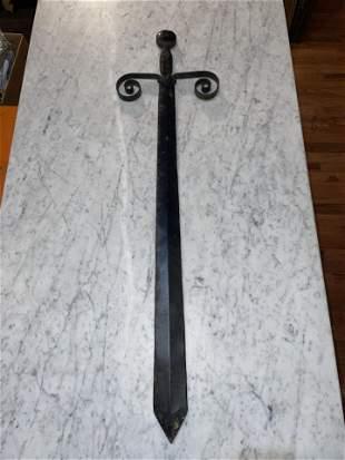 Antique Hand Wrought Cast Metal Sword