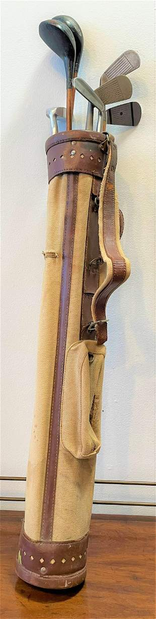 Antique Wood Shaft Golf Clubs & Bag