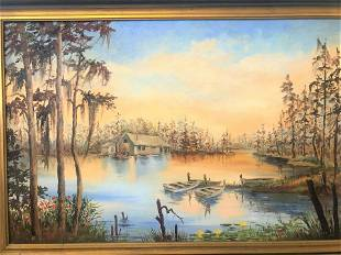 Vintage Oil Painting Cabin on Lake signed
