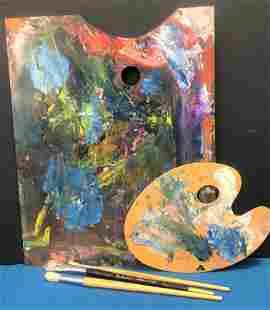 Vintage Artist Painter's Palettes Brushes
