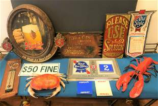 Collection Vintage Beer and Bar Signs Old Style etc.