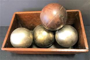 Primitive Folk Art Box and Wood and Metal Balls
