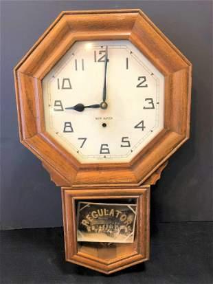 Antique Oak Regulator School Clock