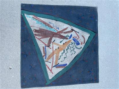 Mid Century Abstract Painting on oil cloth
