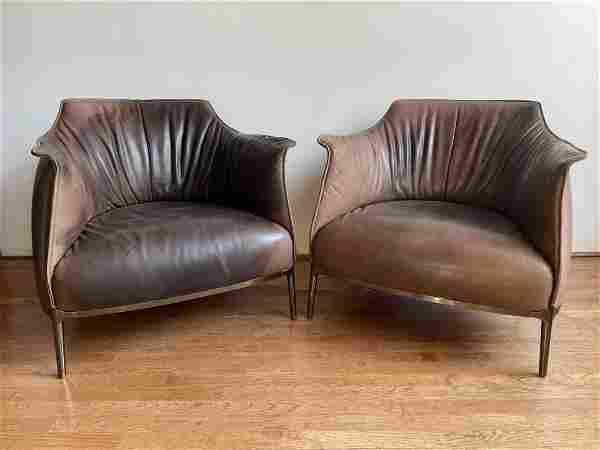 Pair Poltrona Frau Archibald Leather Club Chairs