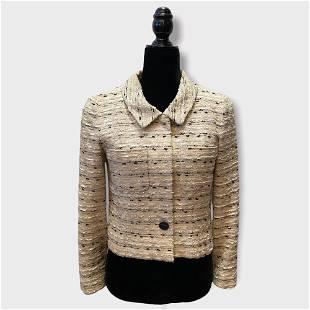 Vintage CHANEL Black & White Collared Tweed Jacket sz