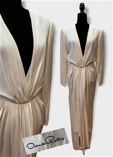 Vintage 1970's OSCAR DE LA RENTA White Draped Knit