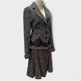 Vintage 2000's ESCADA Tweed & Lace Skirt Suit Sz 44