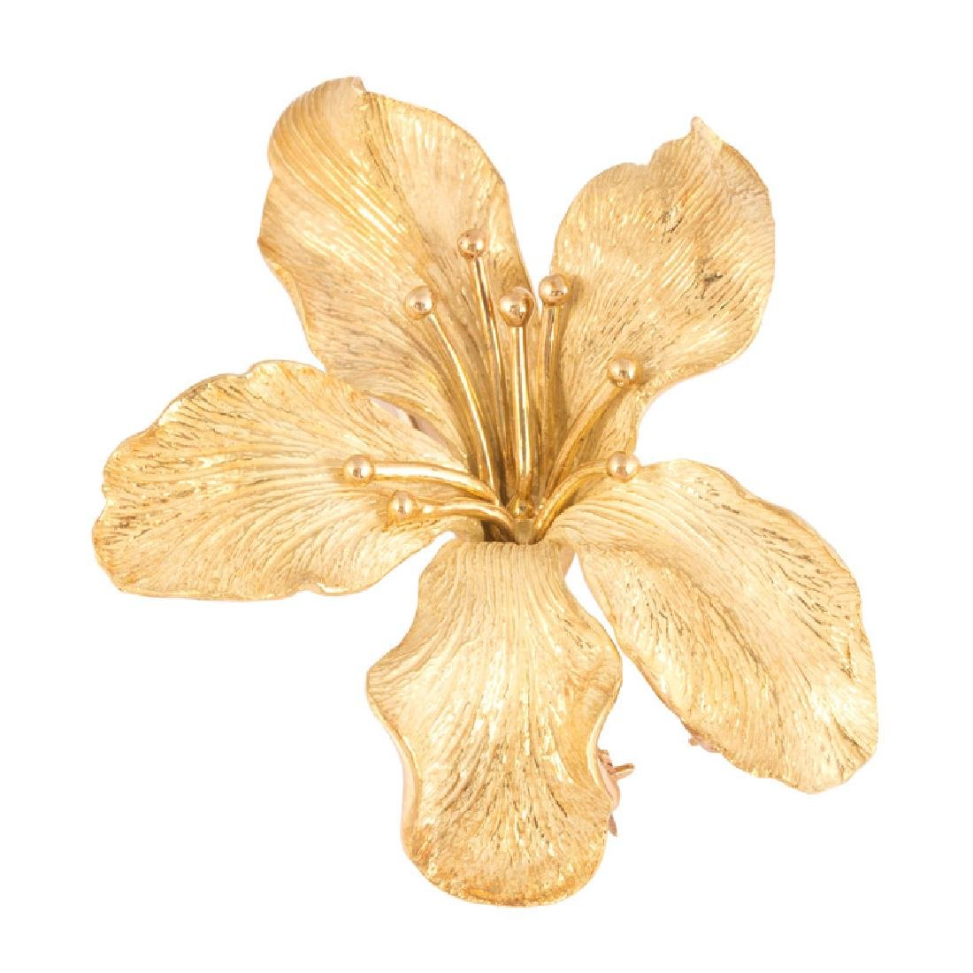 18K ORCHID PIN