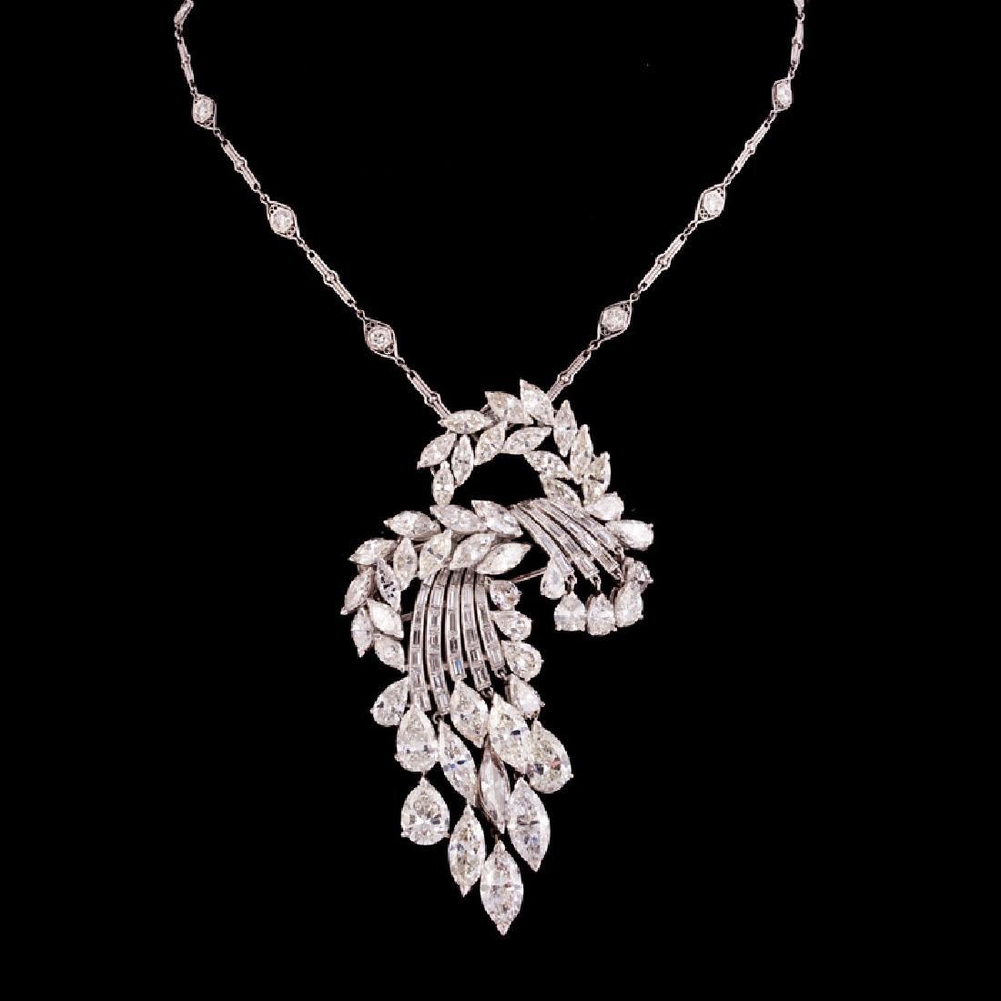 DIAMOND CASCADING STYLE PIN / NECKLACE