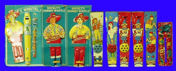 11: ASSORTED TIN WHISTLES (APPROX 9)-