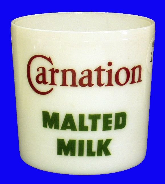 1001: SODA FOUNTAIN CARNATION MALTED MILK CONTAINER-