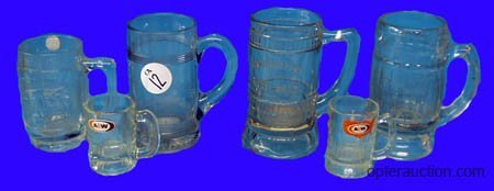 1012: SODA FOUNTAIN 13 PCS GLASS MUGS