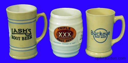 1022: SODA FOUNTAIN (3) ROOT BEER MUGS