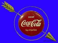 COCA-COLA METAL ARROW SIGN-