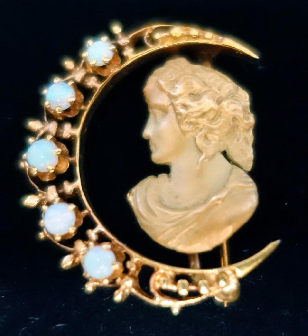 GOLD & OPAL SILHOUETTE PIN