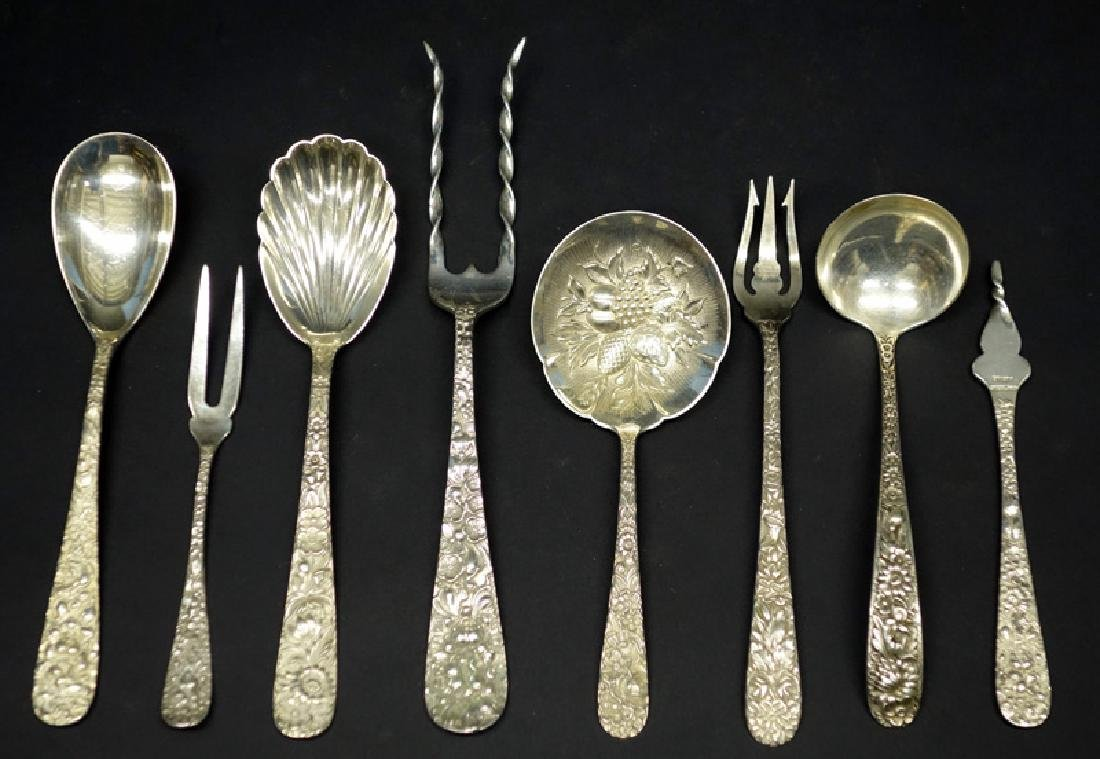 STERLING REPOUSSE FLATWARE (8) PIECES