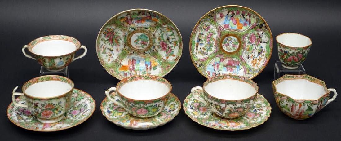 FAMILLE ROSE CUPS & SAUCERS - LARGE LOT (70+ PIECES)