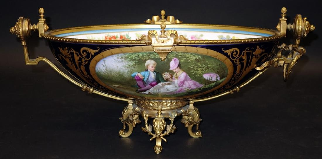 PAINTED PORCELAIN & BRONZE ORMOLU CENTER BOWL/COMPOTE