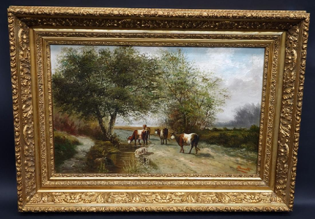 DURANT PASTORAL PAINTING WITH COWS WATERING