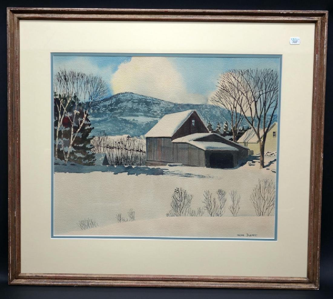 HALTON BLODGETT WATERCOLOR SNOW SCENE