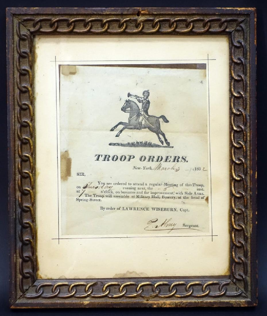 TROOP ORDERS DATED MARCH 3, 1832