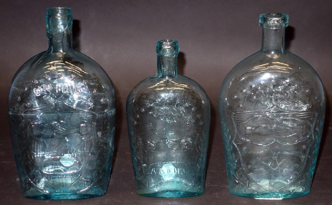 """CLASPED HANDS FLASKS (3) """"UNION"""""""