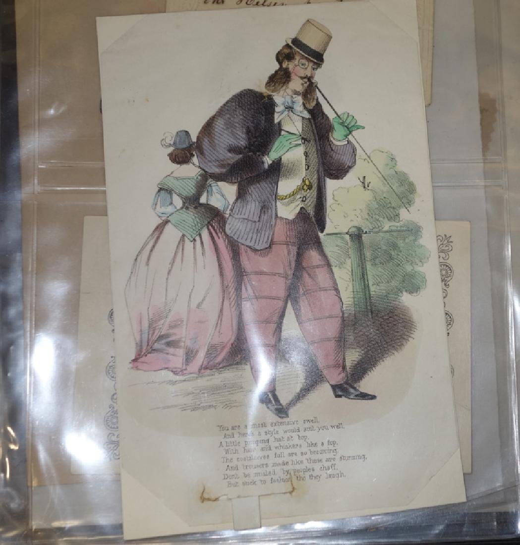 EARLY HAND COLORED COURTING CARDS (8)