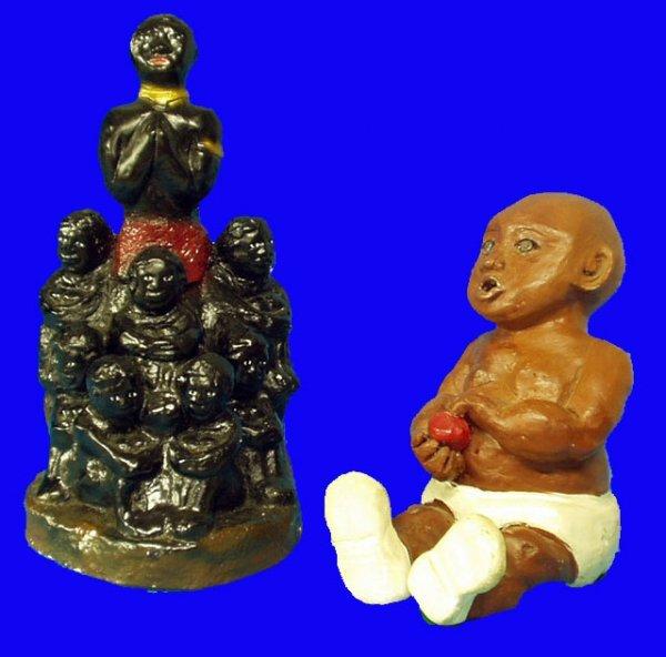 8: BLACK AMERICANA Baby w/ Apple & Chalk Figural Group