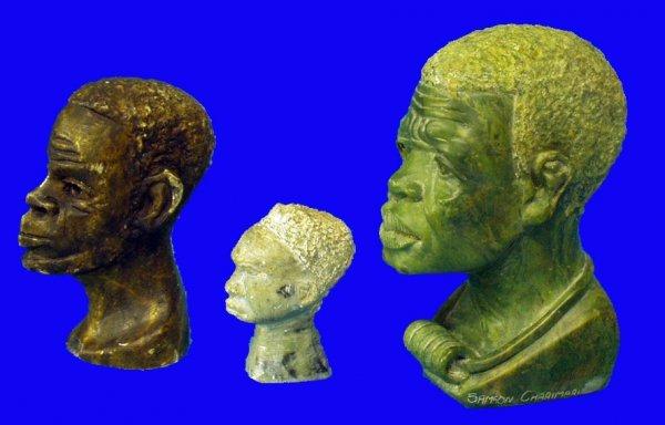 9: BLACK AMERICANA Stone Carved Heads (3)