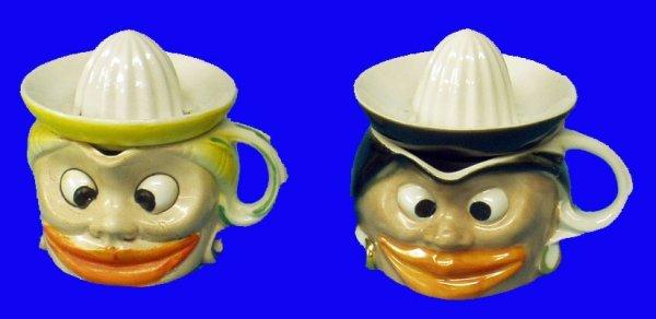 11: BLACK AMERICANA Porcelain Comical Juicers (2)