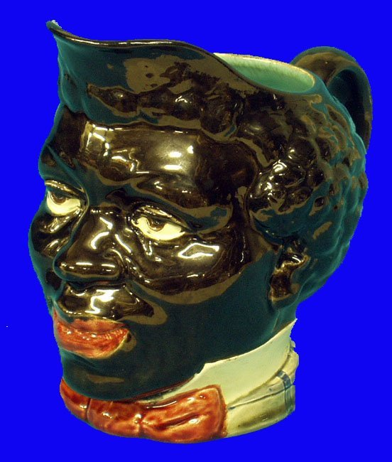 242: BLACK AMERICANA Sarreguemines Majolica Pitcher
