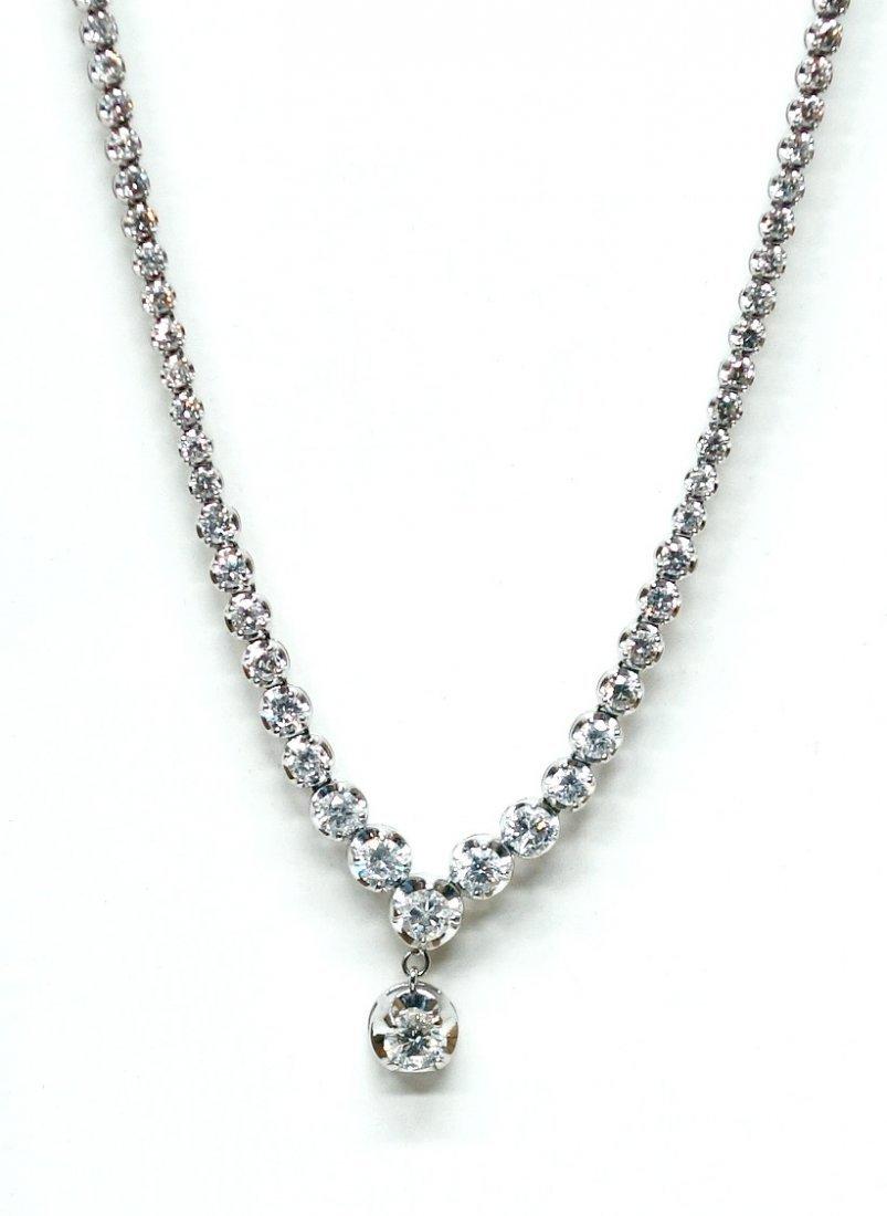 14K WHITE GOLD & DIAMOND NECKLACE - 2