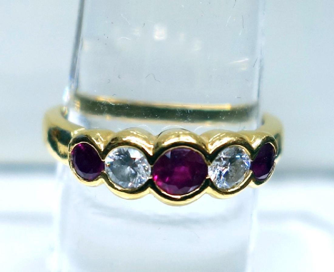 18K DIAMOND & RUBY RING
