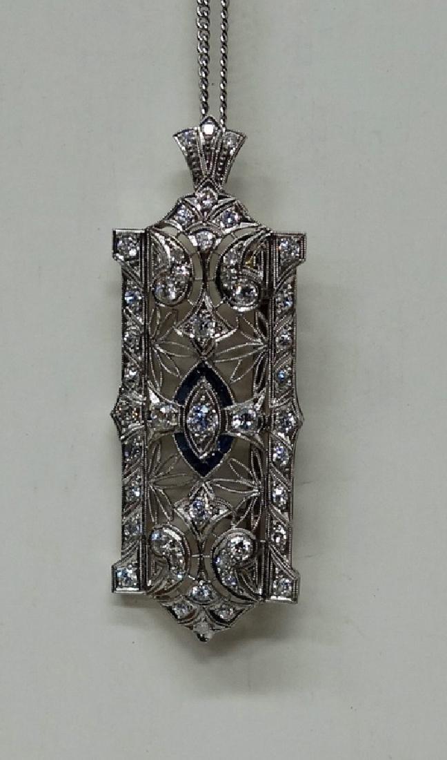 PLATINUM DECO DIAMOND BAR PIN/DROP