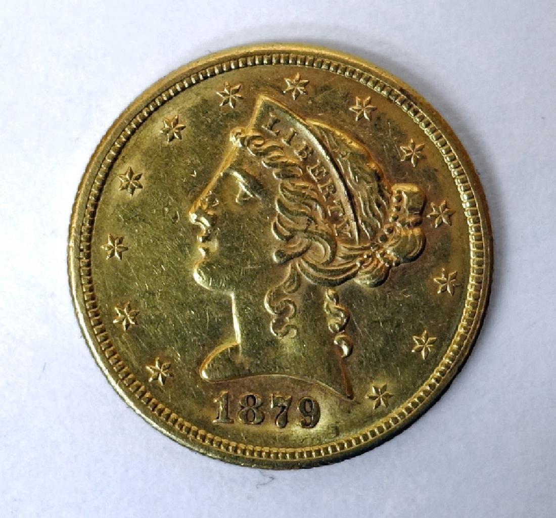1879 S U.S. $5 DOLLAR GOLD COIN