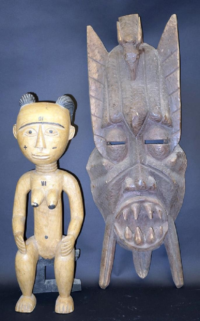AFRICAN MASK & FIGURE