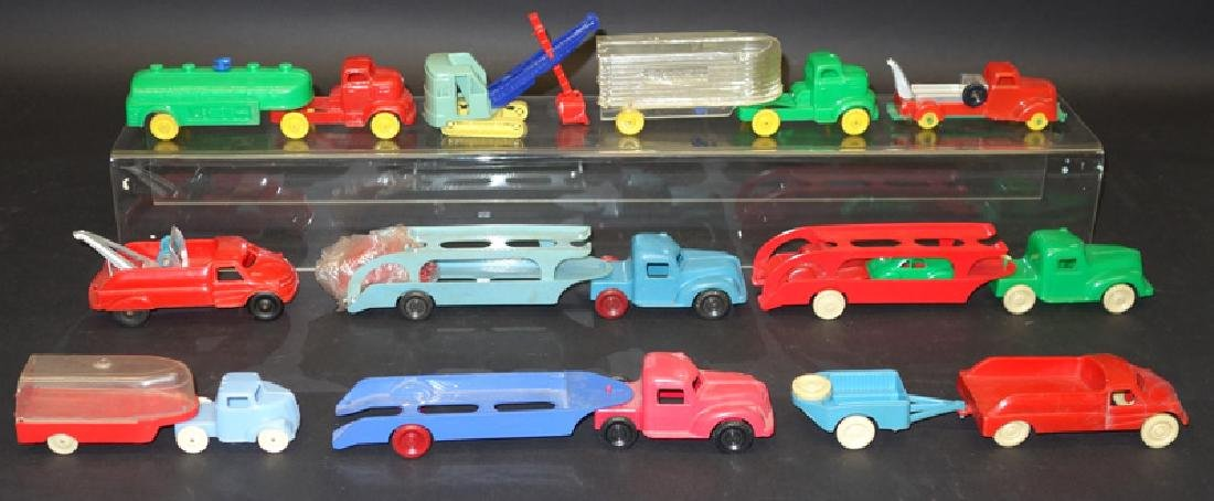 PLASTIC TOY TRUCKS & VEHICLES (10)